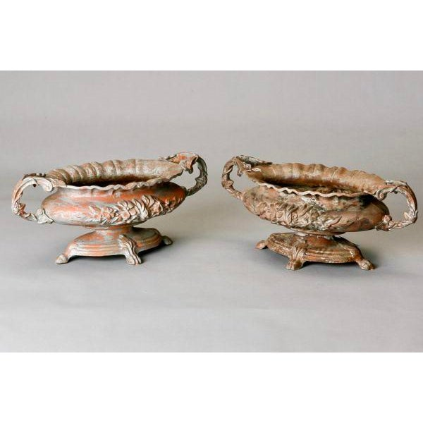 Antique French Chateau Spelter Jardinieres - A Pair - Image 4 of 8