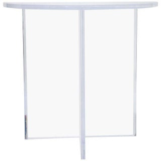 Charles Hollis Jones Style Demilune Clear Lucite Console Table