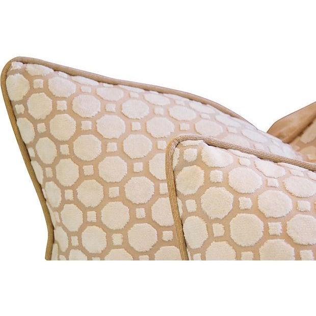 White Velvet Geometric Pillows- A Pair - Image 5 of 7