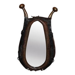 Vintage Leather Rustic Horse Collar Yoke With Mirror
