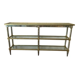 Silver Leaf & Antiqued Trellis Hand Mirrored Console Table