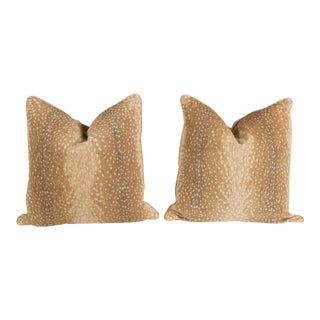 Khaki Chenille Antelope Pillows - A Pair