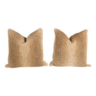 Khaki Chenille Antelope Pillows - A Pair