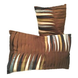 Pleated Chocolate & Cream Pillows - A Pair