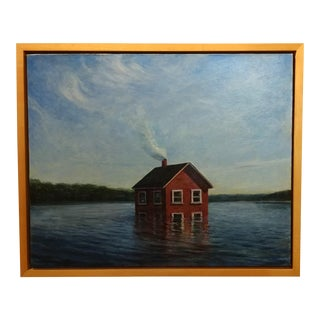 "Mark Beck Symbolism ""House Underwater"" Original Oil Painting"