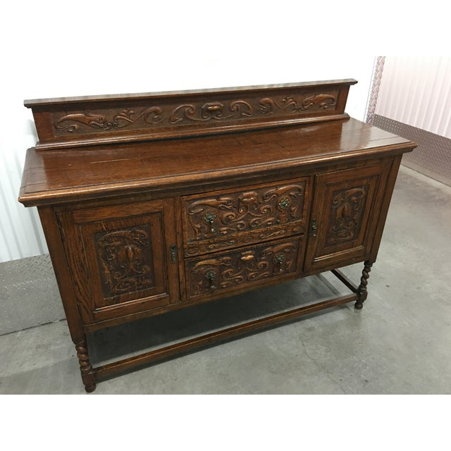 Antique Carved Wood Buffet - Image 5 of 10