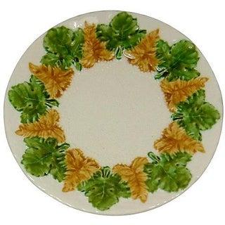 Vintage Majolica Leaf Motif Wall Plate