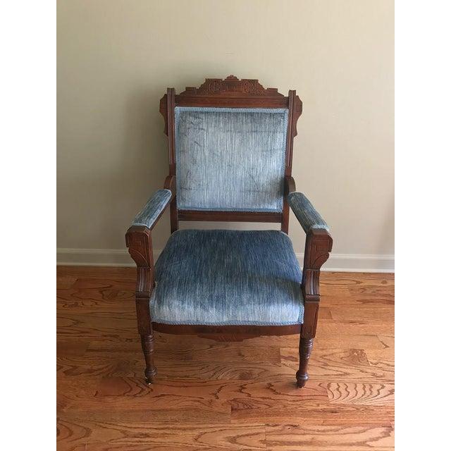 Blue Velvet Eastlake Chair - Image 2 of 9