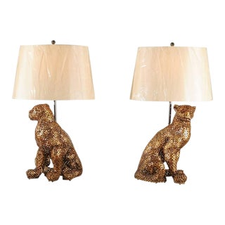 Astonishing Pair of Welded Steel Panthers as Custom Lamps