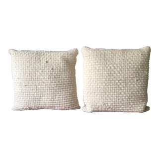 Woven Wool White Pillows - A Pair