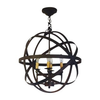 Iron Armillary Modern Four Light Pendant