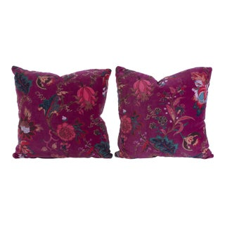 Vintage English Velvet Pillows - A Pair