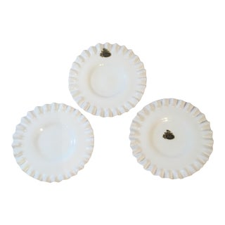 Fenton Milk Glass Bon Bon Plates - Set of 3