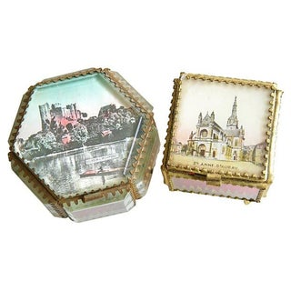 Antique French Souvenir Boxes - A Pair