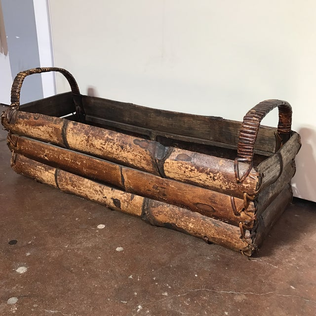 Image of Asian Style Bamboo Trough Handled Basket