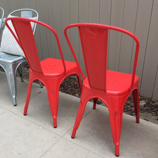 Red Tolix Style Metal Dining Chairs - A Pair - Image 3 of 4