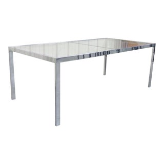 Modern Chrome and Glass Top Dining Table