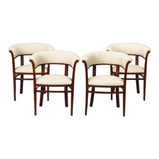 Four Art Nouveau White Leather Barrel Back Chairs