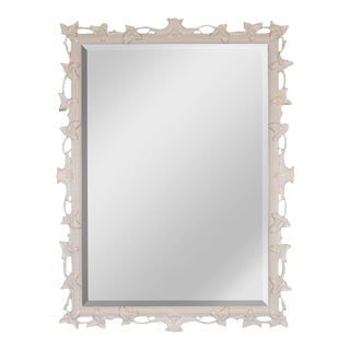 1940s White Lacquered & Beveled Art Deco Mirror in the Manner of Dorothy Draper