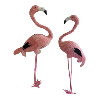 Standing Feather Flamingo Figures - A Pair