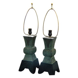 James Mont Style Archaic Table Lamps - A Pair