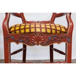 Image of Carved French Country Red Bar Stools - A Pair
