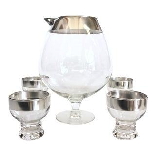 Mid-Century Silver Rimmed Cocktail Set - 5 pieces