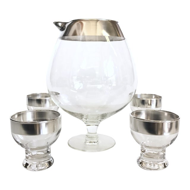 Image of Mid-Century Silver Rimmed Cocktail Set - 5 pieces