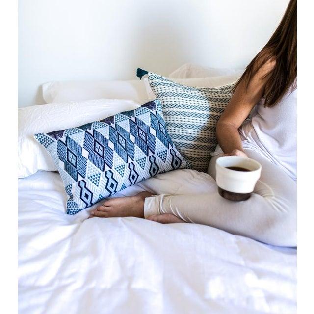 "Handwoven Teal & Blue Guatemalan Pillow - 21""x12"" - Image 8 of 8"