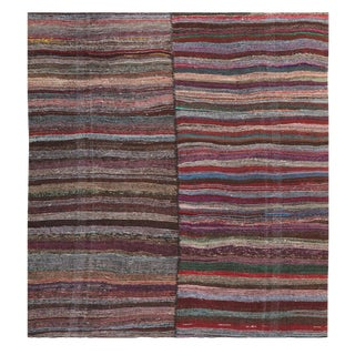 Striped Vintage Turkish Handmade Rag Rug - 8′10″ × 10′7″