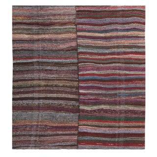 Striped Vintage Turkish Handmade Rag Rug - 8′10″ × 10′7″
