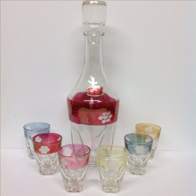 Image of Italian Cut Glass Liquor Set - 7 Pieces
