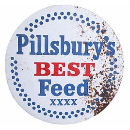 Vintage 1950s Pillsbury's Best Metal Feed Sign