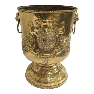 18th C. Brass Repousse Jardiniere