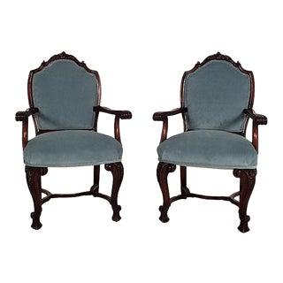 Regency Mahogany Open Armchairs - A Pair