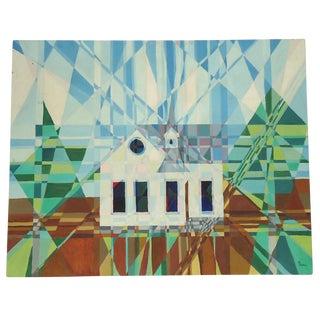 Mod Kaleidoscope Cubist Church Painting