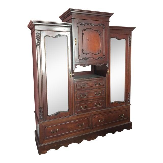 Image of Early 1900s Edwardian Walnut Armoire or Cupboard
