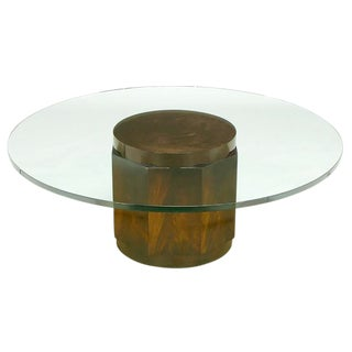 Edward Wormley Flame Mahogany and Glass Coffee Table for Dunbar