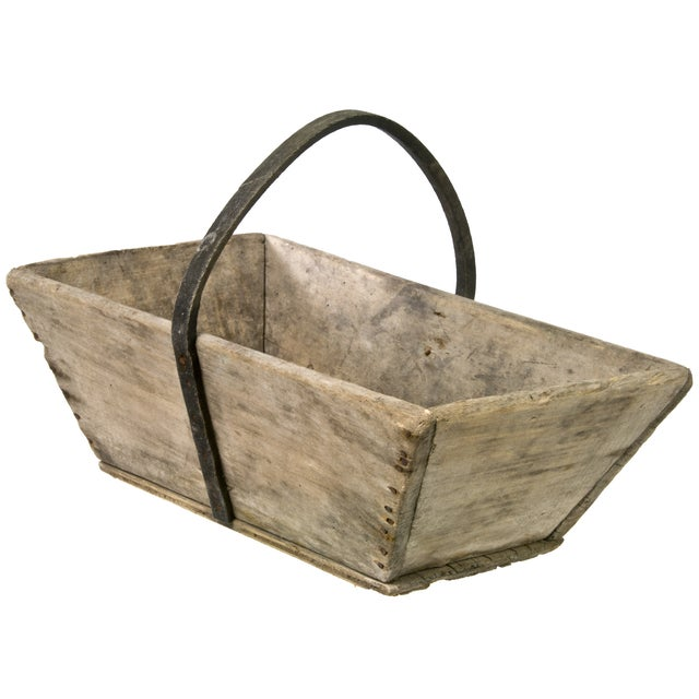 Image of Vintage French Wood Garden Trug With Rubber Handle