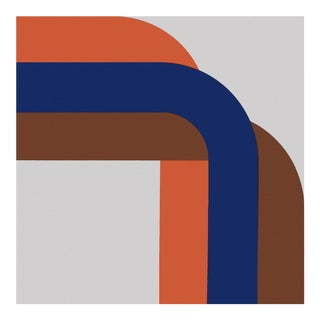 """Blue """"Right Angle"""" 1970s Supergraphic"""