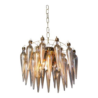 Murano Avventurina Gold Fleck Blown Glass Chandelier