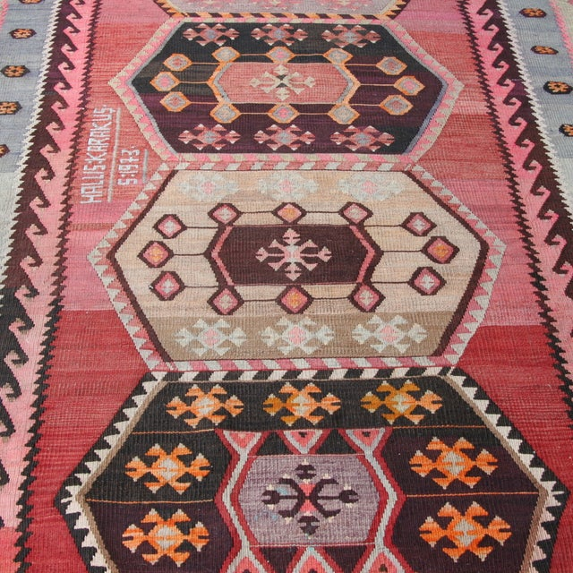 "Vintage Turkish Kilim Rug - 7' X 13'3"" - Image 8 of 8"