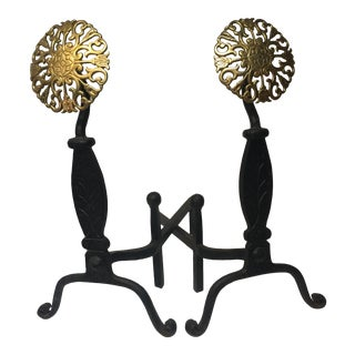 Large Iron Brass Medallion Andirons - a Pair