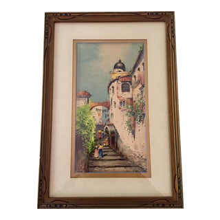 Italian Watercolor Painting of Naples, Giltwood Frame