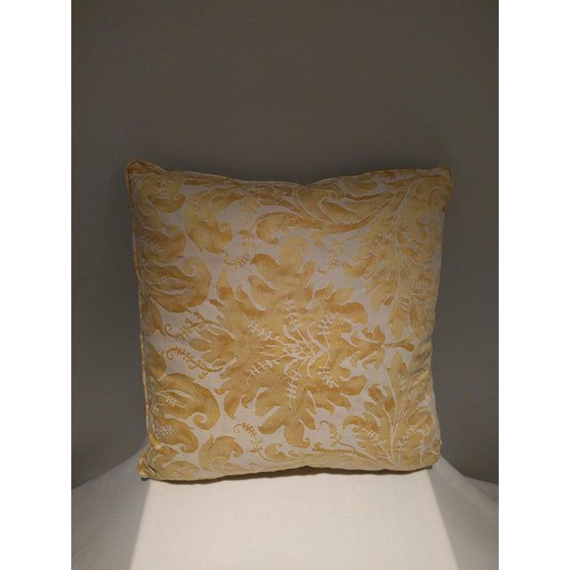 Custom Italian Gold Damask Silk Pillows - Set of 3 - Image 8 of 11