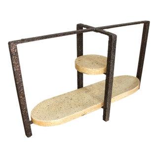 Minimalist Brutalist Fused Bronze, Iron and Concrete Table Base