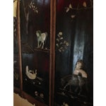 Image of Old Asian Three Panel Screen With Jade and Ivory