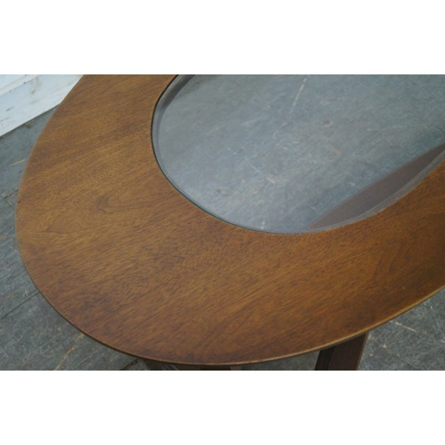 Image of Mid-Century Boomerang Walnut & Glass Top Coffee Table