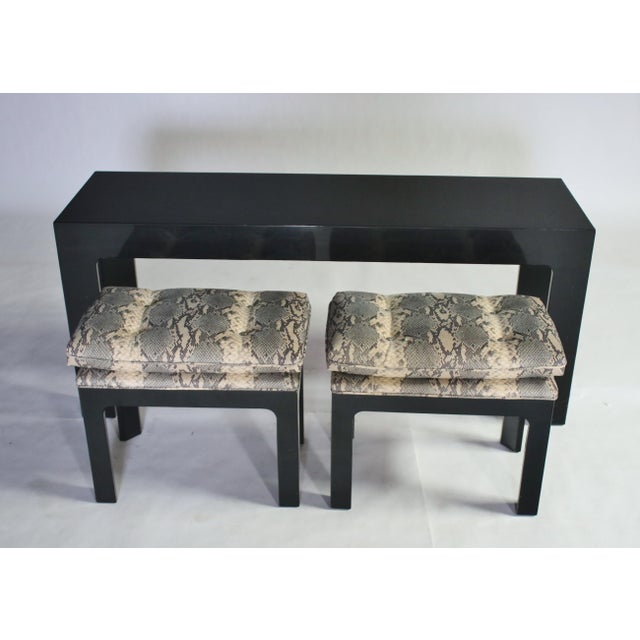 Parson Style Black Lacquered Console Table and Benches - Image 7 of 11