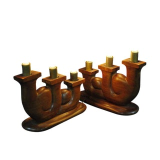 French Hand Carved Candlestick Lights - A Pair